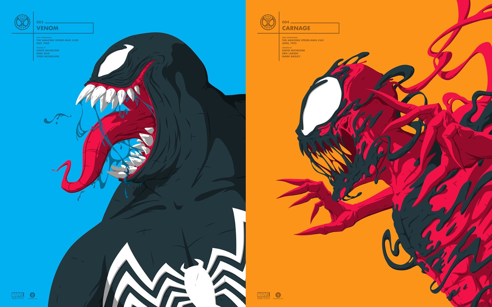 30066ae4529 NYCC 2017 Exclusive Star-Lord, Venom & Carnage Marvel Faceoff Portrait  Screen Prints by Florey x Grey Matter Art