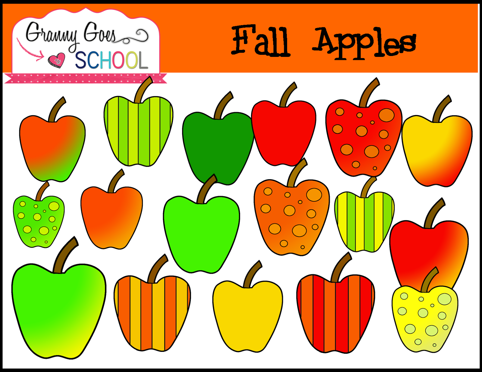 Granny Goes to School: Fall Apples: Free Clip Art