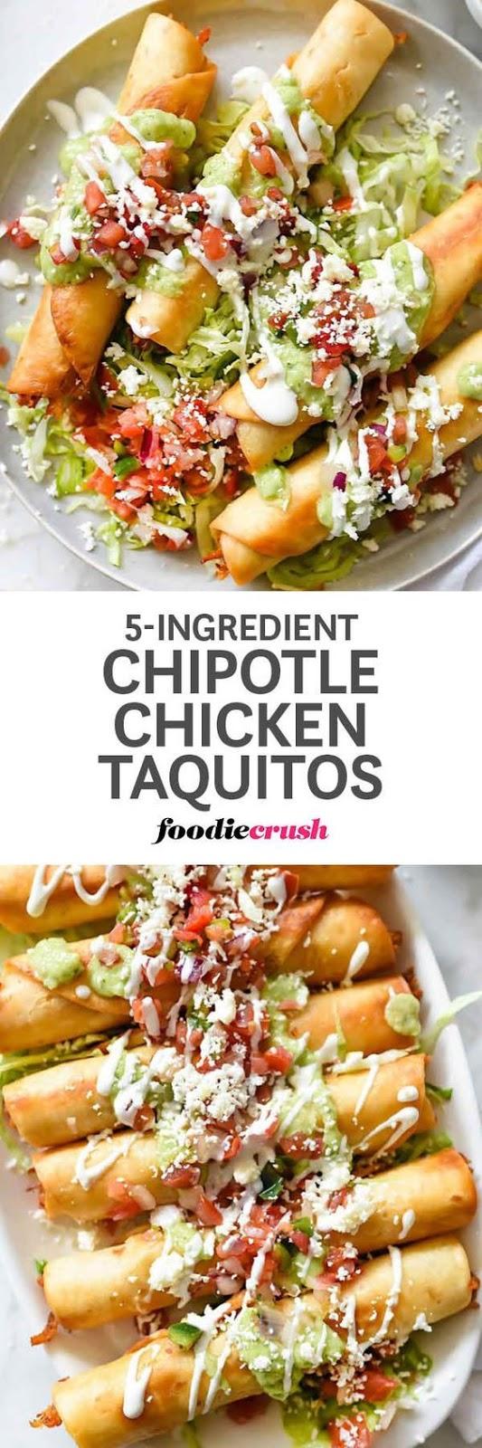 5-Ingredient Chipotle Chicken Taquitos