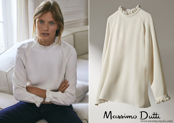 Queen Maxima wore Massimo Dutti shirt with frilled collar and sleeves