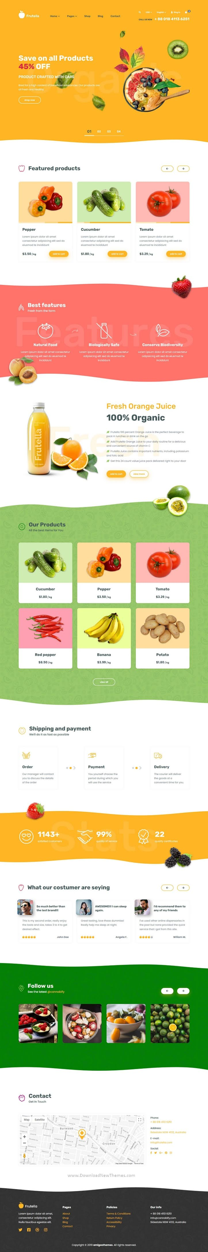 Organic Food, Fruits and Vegetables Shop Template