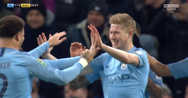 Manchester City Kevin De Bruyne Celebrates goal with Walker