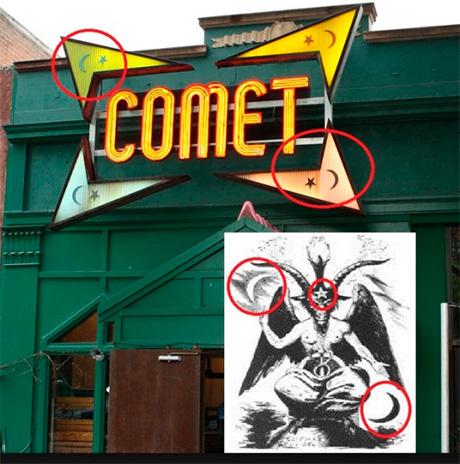 comparación entre el logo de comet ping pong y la figura de satánica de baphomet