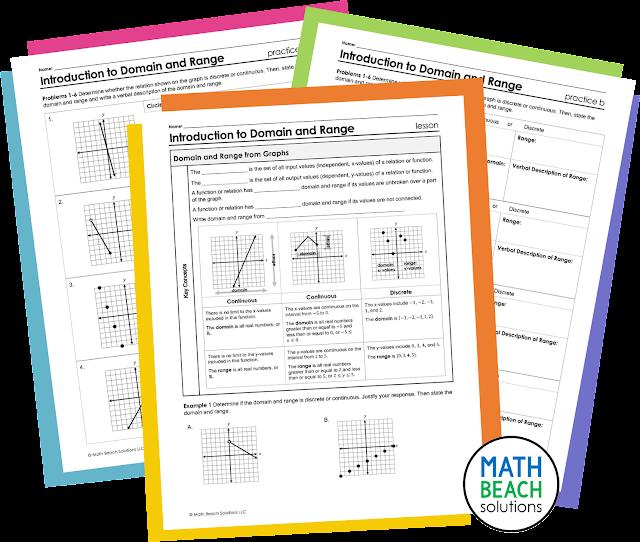 Texas Algebra 1 Domain and Range Lesson