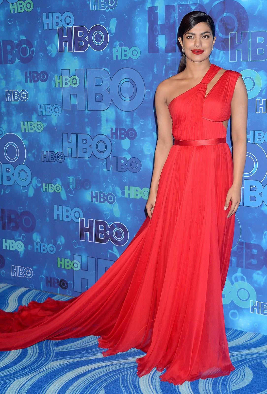Priyanka Chopra Looks Stunning In Red Dress At Hbos Post -5247