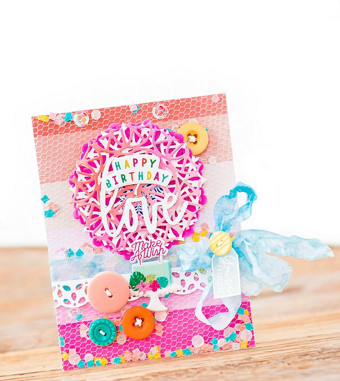Happy Birthday - Pinkfresh Studio - Pinata-Inspired Mesh Shaker Card