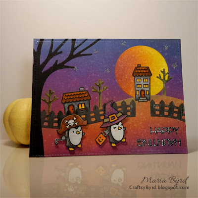Lawn Fawn Happy Haunting Penguins Halloween Card by Maria Byrd | CraftsyByrd.blogspot.com
