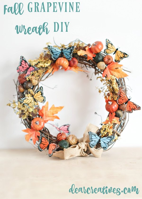 DIY Colorful Fall Grapevine Wreath