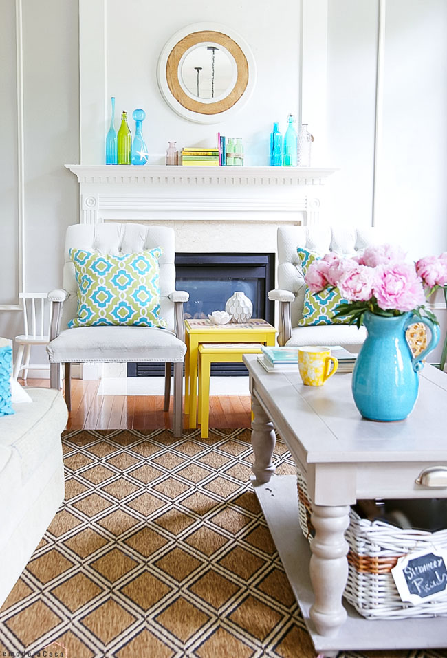 A colorful summer mantel