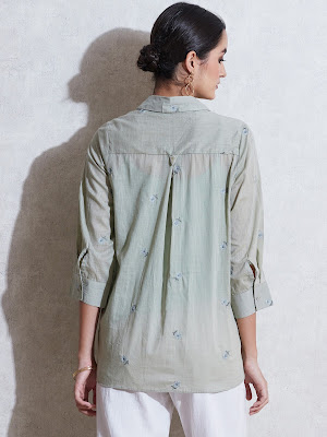 Ritu Kumar sage green self-work cotton Kurti back side