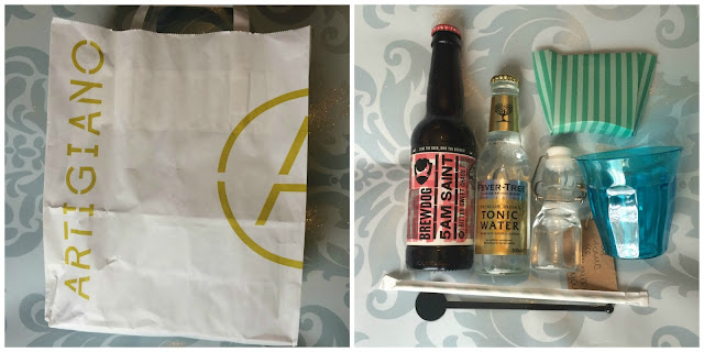 Photograph of the goodie bag given to us by Artigiano's