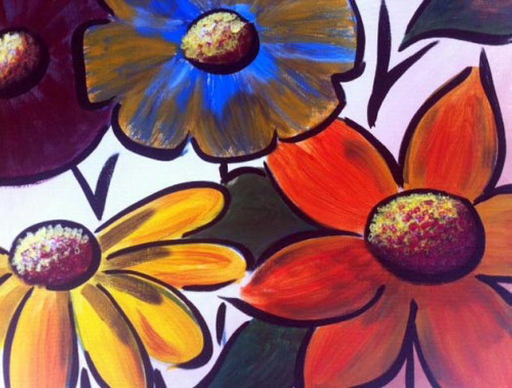 Cuadros modernos pinturas y dibujos serie de flores for Cuadros de pared grandes