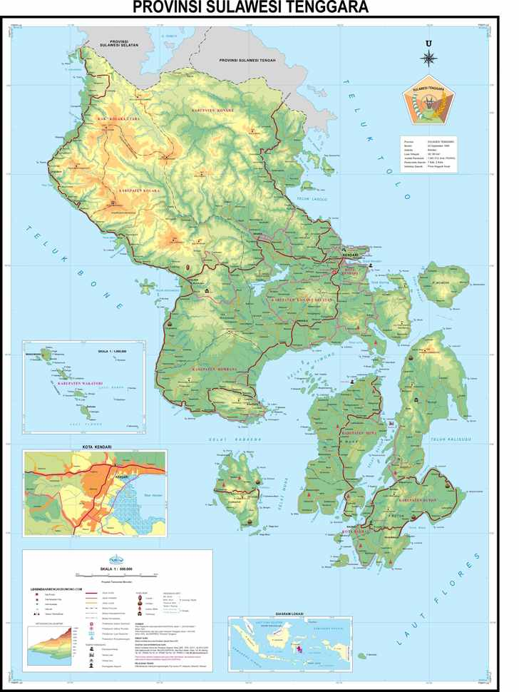 peta sulawesi Tenggara / South East sulawesi map
