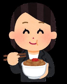 牛丼を食べる女性のイラスト(会社員)