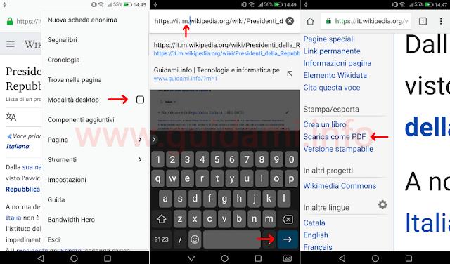 Salvare in PDF su mobile dal browser articolo Wikipedia