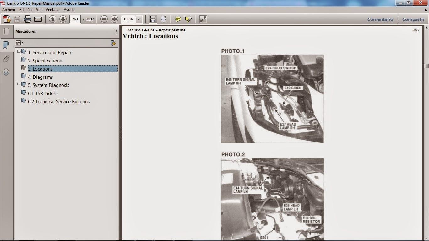 A modo de ejemplo incluímos a continuación capturas de pantalla de muestra del  Manual de Taller del KIA RIO motor G4ED gasolina 1.6 lts: