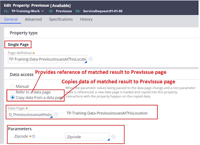 Passing parameters to data pages using a property