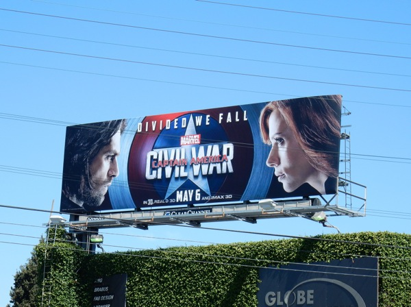 Captain America Civil War Winter Soldier Black Widow billboard