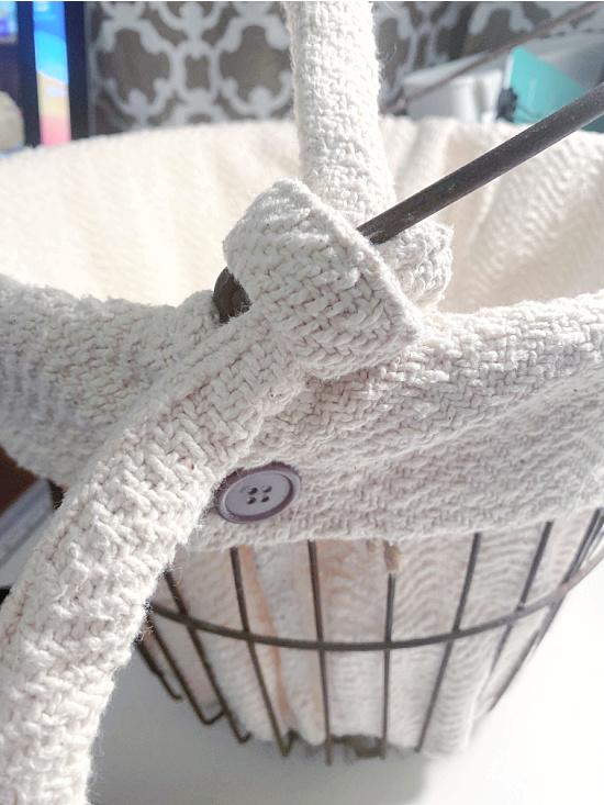 tie on handle of basket