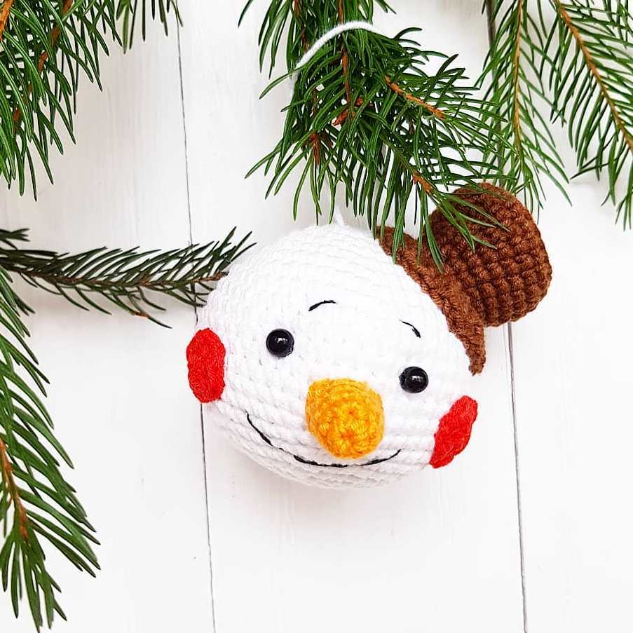 Crochet snowman Christmas ornament