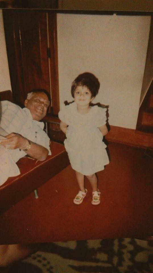 Meghana Raj with grandfather