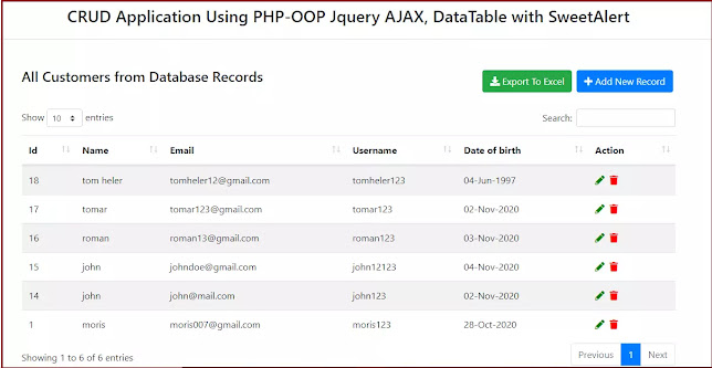 Insert or Add  View and Edit using OOPS CRUD System with PHP Jquery AJAX and MySQL