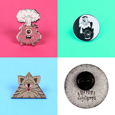 Buff Monster Enamel Pins - Eruptin' Justin, Yin Yang and Illuminati Kitty