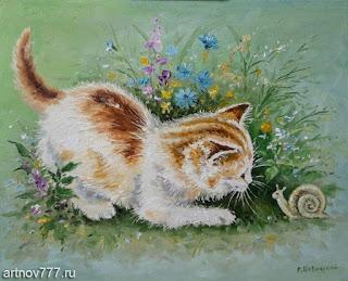 Котёнок-и-улитка-картина