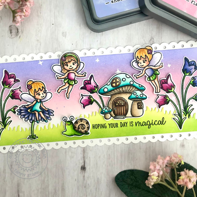 Sunny Studio Stamps: Garden Fairy Slimline Dies Fairy Themed Birthday Card by Tammy Stark