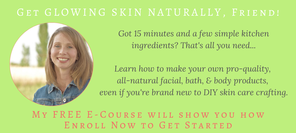 Learn how to make your own DIY beauty, bath, body, and facial products, with simple ingredients found in the kitchen. Enroll in the FREE e-course to get the easy recipes.