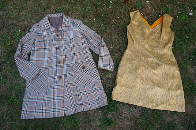 60s 70s plaid coat green orange golden lame dress mod gogo twiggy 1960s 1970s