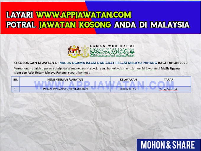 Jawatan Kosong di Majlis Ugama Islam dan Adat Resam Melayu Pahang.