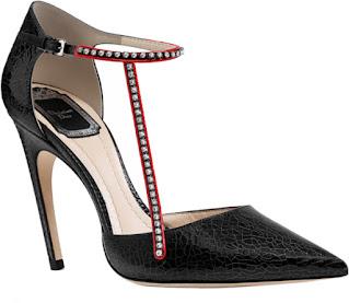 Black Dior bejeweled crackled deerskin pump #brilliantluxury