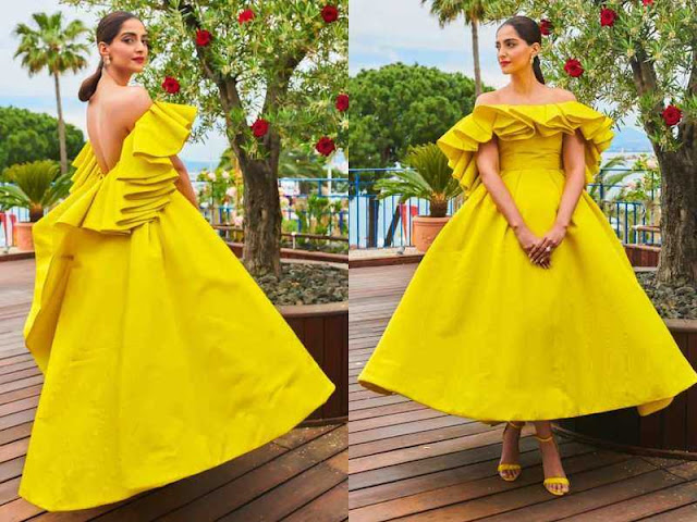Sonam Kapoor in a yellow dress by Ashi Studio