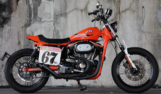 sportster street tracker total orange side right