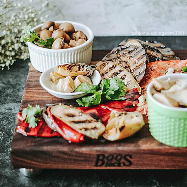 Food on a walnut cutting board