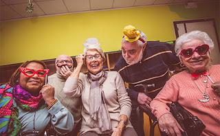 Elderly celebrating
