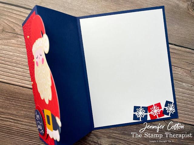 Stampin' Up!'s Love, Santa Tag Kit used to make a cute Z Fold Card!  Add the Macramae embossing folder, Poppy Parade ink pad, and Layering Circles Dies (plus cardstock)!  #StampinUp #StampTherapist #LoveSanta