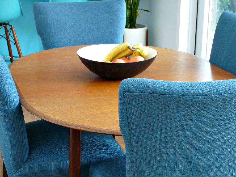 MCM Teak and Blue Tweed Chairs / Krenit Bowl