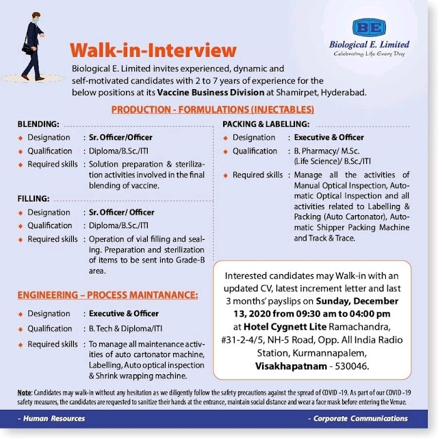 Biological E | Walk-in interview for Production/Packing/Engg on 13th Dec 2020