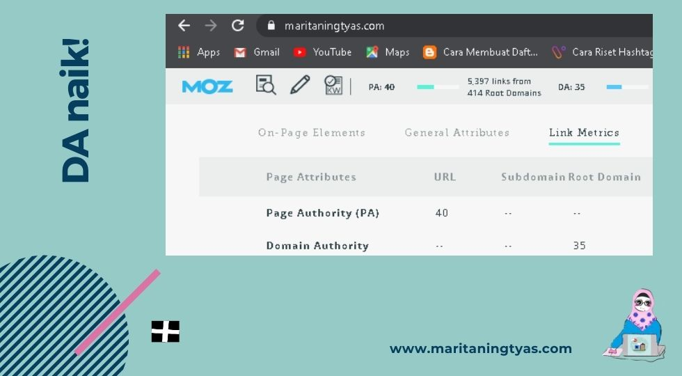 domain dan page authority naik