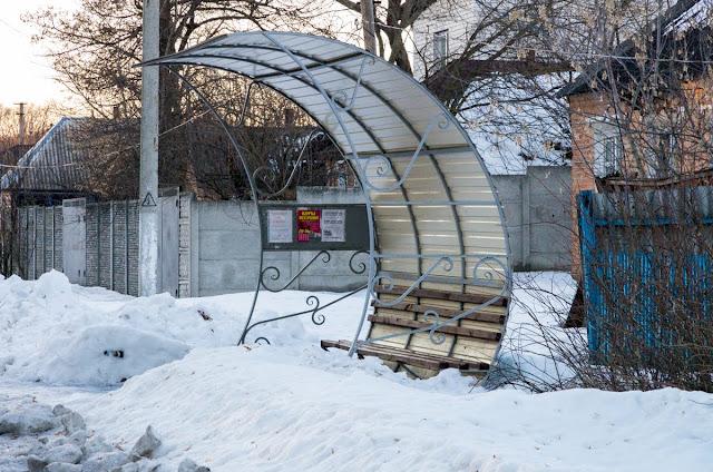 Зупинка автобусу у Сковородинівці