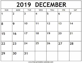 Free Printable Calendar 2019 Free Printable Calendar December