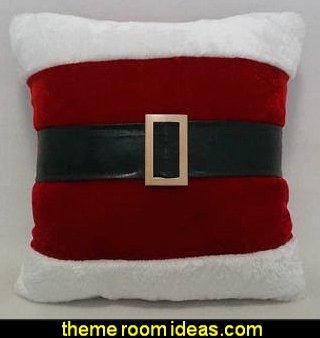 Santa Belt Fabric Euro Pillow   North Pole Special Delivery Woven Polyester Lumbar Pillow