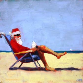 Santa at the Beach, beach chair, beach painting, santa, debbie miller,