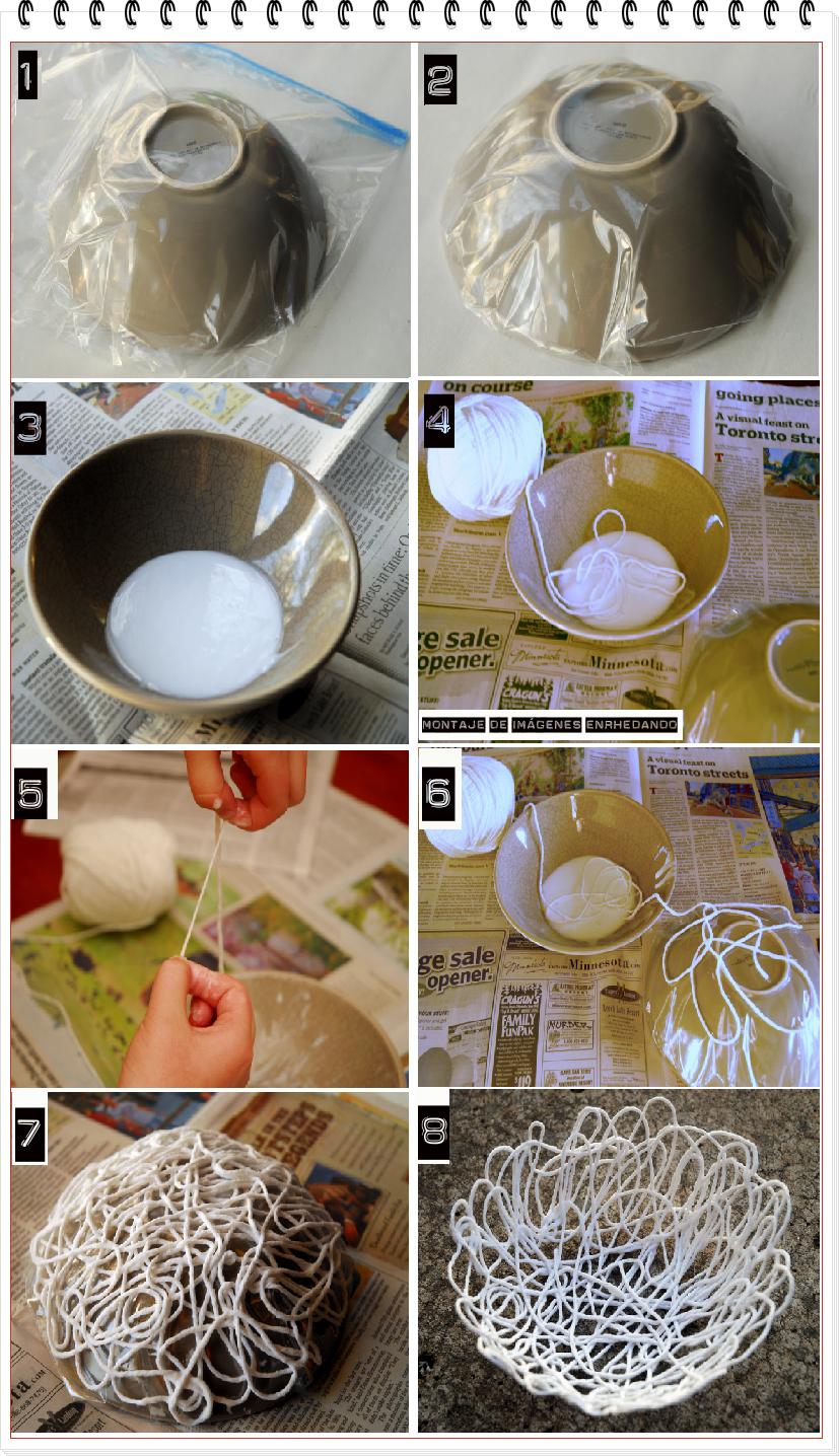 Como hacer un cuenco o bol con hilos de lana enrhedando - Manualidades con lanas de colores ...