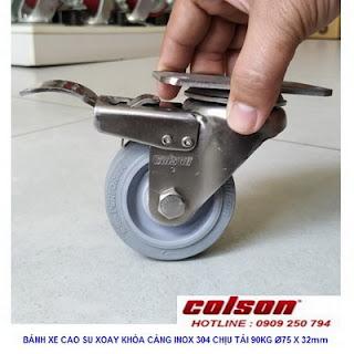 Bánh xe cao su có khóa càng inox 304 Colson 3inch | 2-3356SS-444-BRK4 www.banhxeday.xyz