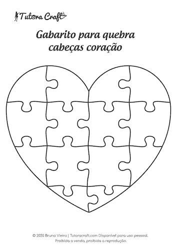 Gabarito para fazer quebra cabeças coração