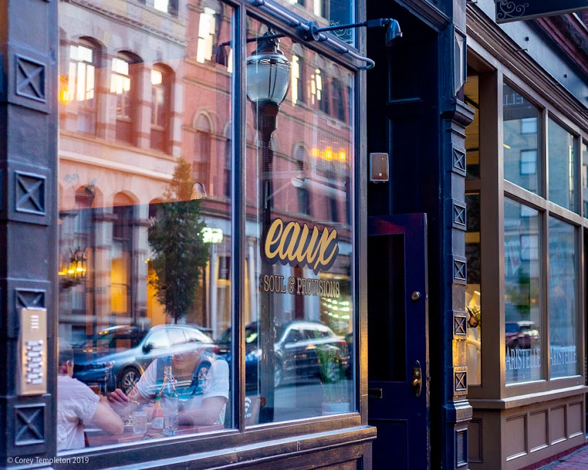 Portland, Maine USA August 2019 photo by Corey Templeton. Passing by Eaux Soul & Provisions on Exchange Street.