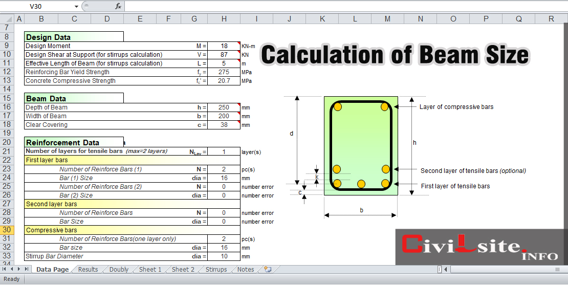 Calculation of Beam Size, Reinforced Concrete Beam Module